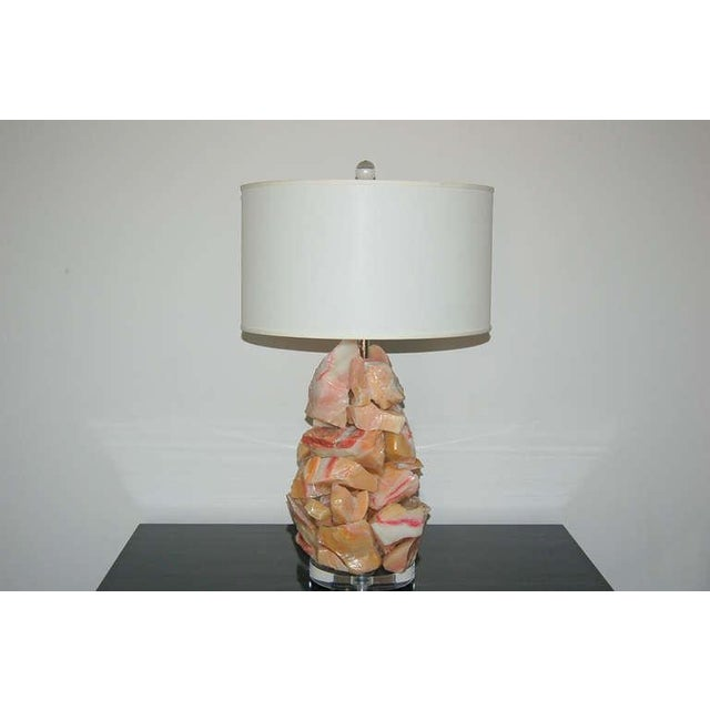 Swank Lighting Glass Rock Table Lamps by Swank Lighting Peach Pink For Sale - Image 4 of 8