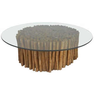 Midcentury Rustic Twig and Glass Coffee Table For Sale