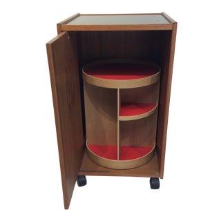 Teak Pedestal Rolling Dry Bar