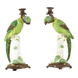 Pasargad N Y Porcelain Bird Candle Holder Porcelain - a Pair