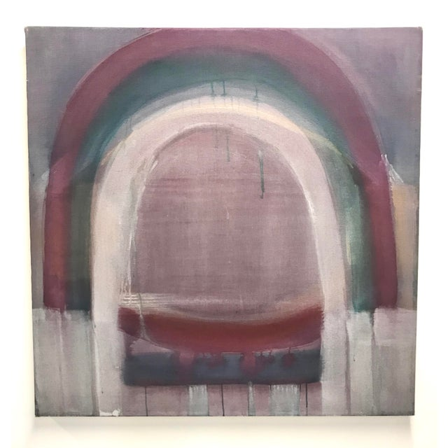 "Large Painting by Denise Martin titled ""Arches II"" 1971. Oil on linen stretched on deep stretcher. Titled and signed on..."