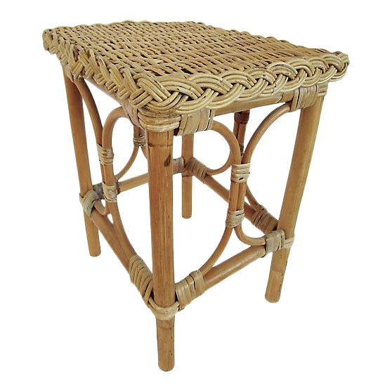 English Rattan & Bamboo Side Table For Sale