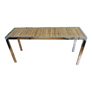 Vintage 1970s Parsons Style Rattan and Chrome Console Table For Sale