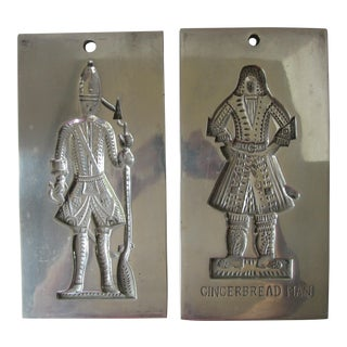 Virginia Metalcrafters Pewter Bake Shop Cookie Molds - A Pair For Sale