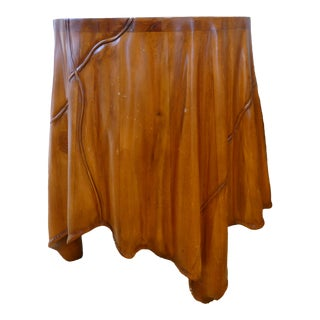 Mini Skirted Hand- Carved Wood Side Table For Sale