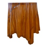 Image of Trompe L'oeil Skirted Hand- Carved Wood Side Table For Sale