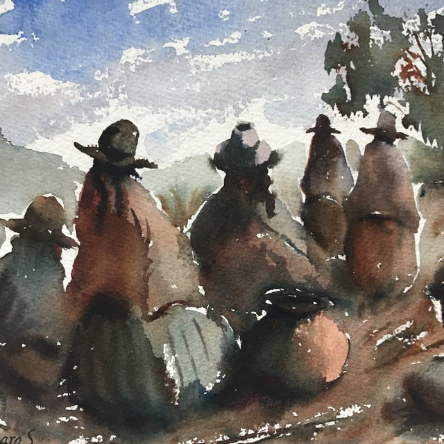 Vintage Peruvian Watercolor Painting By Hugo Lecaros For Sale - Image 4 of 7