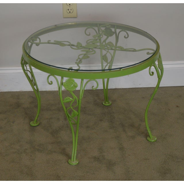 High Quality Vintage Custom Green Painted Wrought Iron Base Round Glass Top Side Table by Woodard
