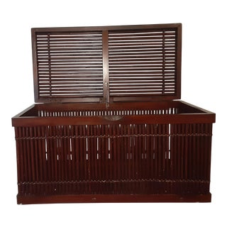 Rattan Bamboo Cane Blanket Trunk Chest For Sale