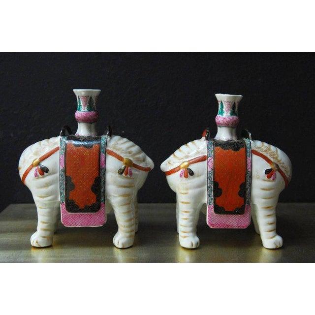 Hollywood Regency Mottahedeh Porcelain Elephant Candleholders - Set of 4 For Sale - Image 3 of 11
