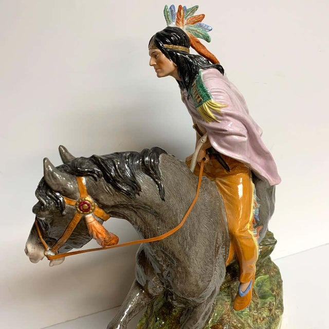 American Indian on Horseback, by Scheibe Alsbach / Volkstedt Porcelain For Sale In West Palm - Image 6 of 13