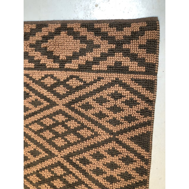 Heavy Knit Brown and Tan Geometric Rug For Sale - Image 4 of 13