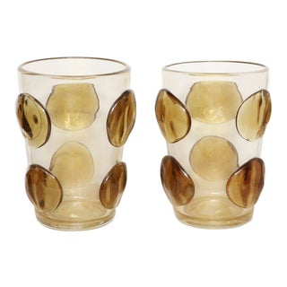 Pair of Enormous Signed Constantini Topaz Murano Vases For Sale