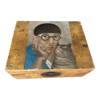 Antique Leather Box W/ Museum Study Painted Top For Sale