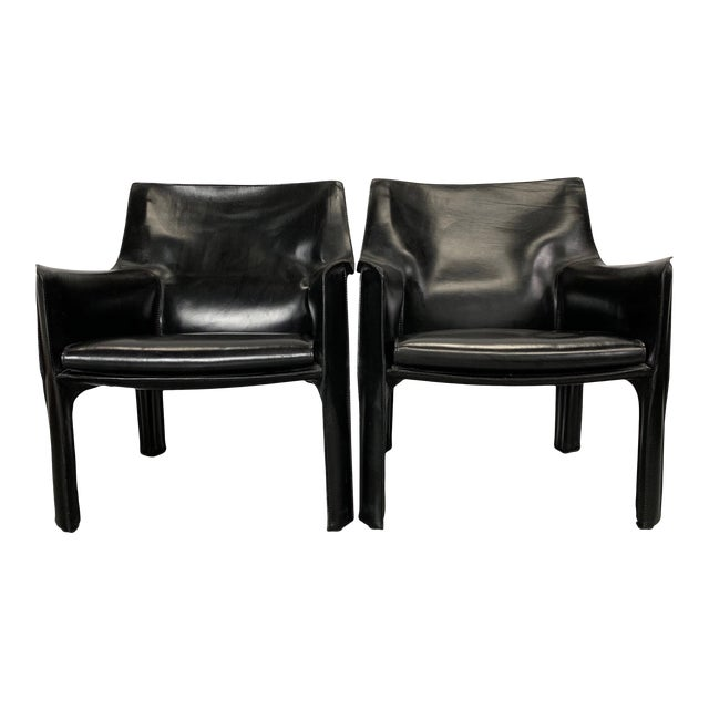 1960s Vintage Mario Bellini Black Leather Cassina Cab Chairs- Pair For Sale