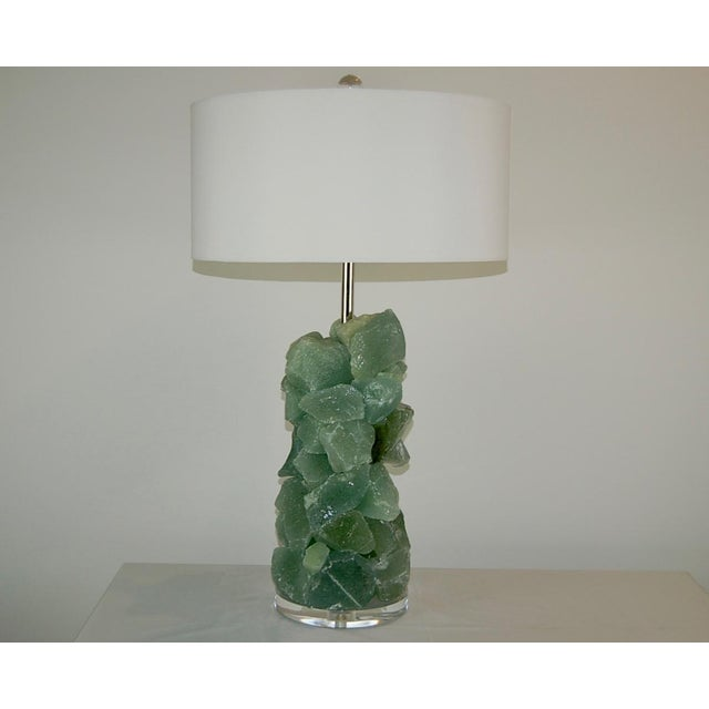 Contemporary Glass Rock Table Lamps by Swank Lighting Sea Foam Green - a Pair For Sale - Image 3 of 12