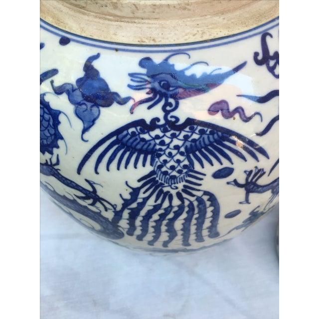 Blue & White Porcelain Dragon Altar Urn - Image 7 of 9