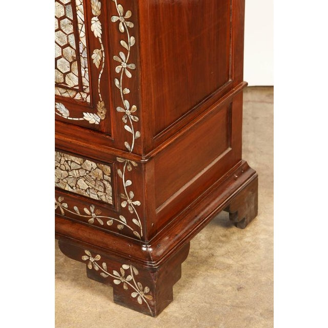 Colonial Rosewood Cabinet with Mother-of-Pearl For Sale - Image 9 of 10