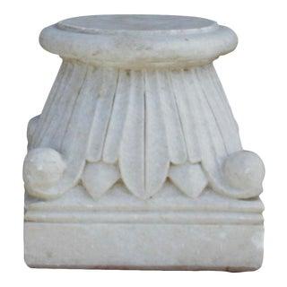 Carved White Marble Pedestal