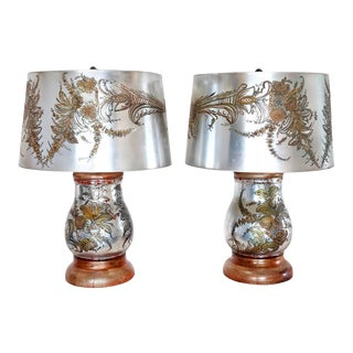 Stunning Pair of Verre Eglomise Table Lamps with Original Shades For Sale
