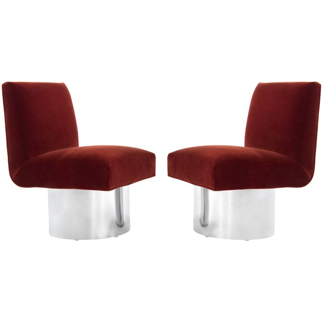 Milo Baughman Swivel Chairs on Drum Nickel Bases For Sale - Image 10 of 10