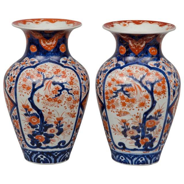 Ceramic Pair of Japanese Imari Open Vases, circa 1870 For Sale - Image 7 of 7