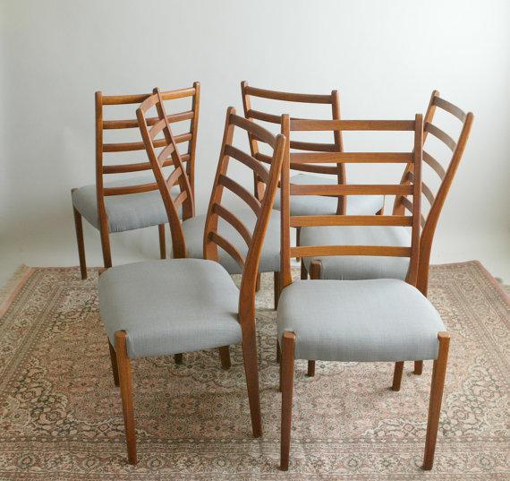 Wonderful Danish Modern Walnut Ladderback Chairs   Set Of 6   Image 5 Of 6