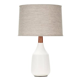 Cooper Lamp in White Quartz Glaze For Sale