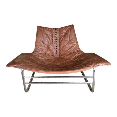 Mid Century Chrome and Leather Corset Tie Back Sling Chair For Sale
