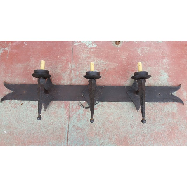 Hand-Forged Rustic Iron Light Fixture - Image 4 of 6