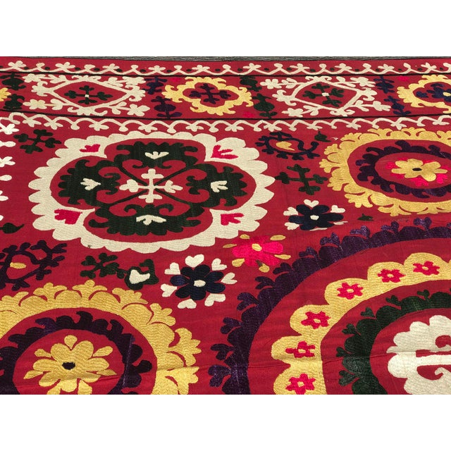 Antique Handmade Suzani Dark Red Tapestry For Sale - Image 4 of 5