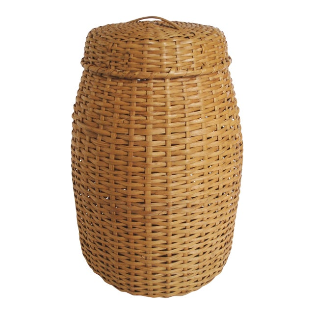 Large Rattan Standing Basket - Image 1 of 5