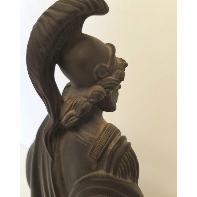Neoclassical Vintage Mottahedeh Neoclassical Black Basalt Figurine of a Roman Soldier on a Gilt Base For Sale - Image 3 of 6