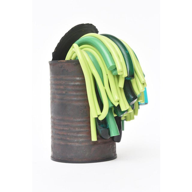 Leonardo Cimolin Italian Tin Can and Murano Glass Sculpture For Sale - Image 4 of 10