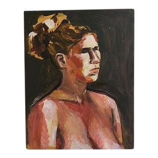 Midcentury Female Semi Nude Oil Painting