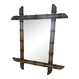 Wooden Carved Bamboo Mirror For Sale