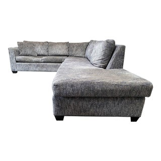 Gray Cotton Blend Large Sectional For Sale