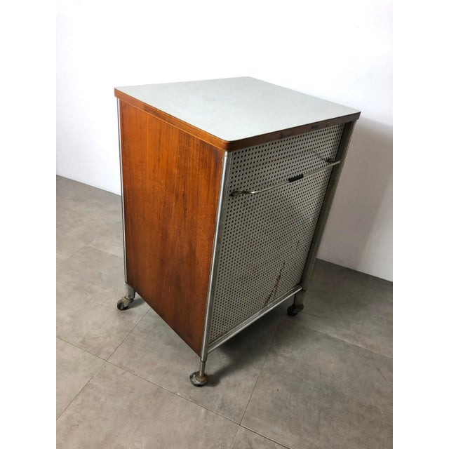 Raymond Loewy 1950s Raymond Loewy Hill-Rom Walnut & White Laminate Rolling Cabinet For Sale - Image 4 of 10