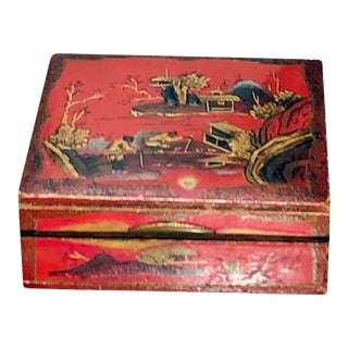 Vintage Small Red Chinoiserie Box For Sale