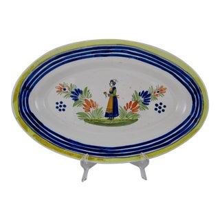 HenRiot Quimper Faience Oval Platter, Femme de la Campagne Breton For Sale