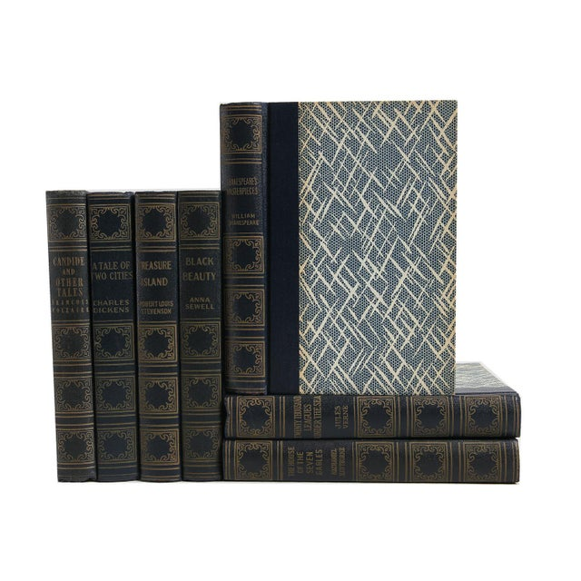 Rustic Vintage Blue Book Set: World's Popular Classics - Set of 7 For Sale - Image 3 of 3