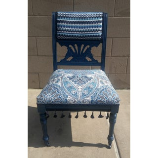 19th Century Victorian Style Bohemian Blue Side Chair Preview