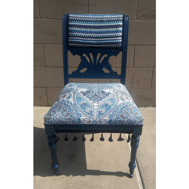19th Century Victorian Style Bohemian Blue Side Chair