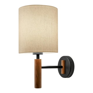 Satin Black and Walnut Wall Light & Shade For Sale