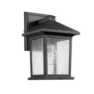 Carriage House 1 Light Outdoor Wall Sconce, Black - Aluminum For Sale