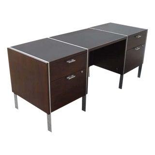Stow Davis Dark Walnut Knee Hole Credenza Desk For Sale