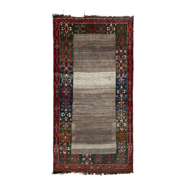 Hand-Knotted Mid-Century Vintage Gabbeh Rug in Gray Red Tribal Geometric Pattern For Sale