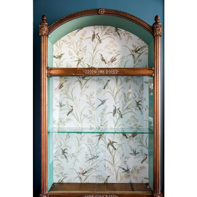 Hollywood Regency 1960s Regency Wallpaper Lined Gold Curio Cabinet For Sale - Image 3 of 7