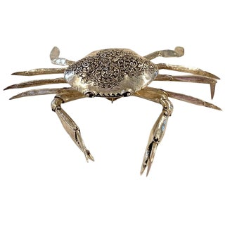 Large Sterling Articulated Model/ Spice Box of a Crab For Sale