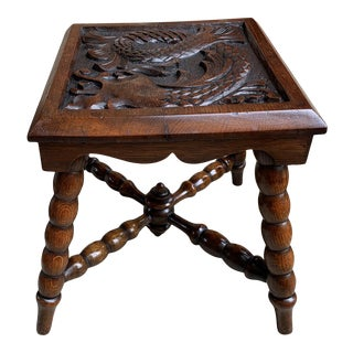 Antique English Carved Bench Stool For Sale